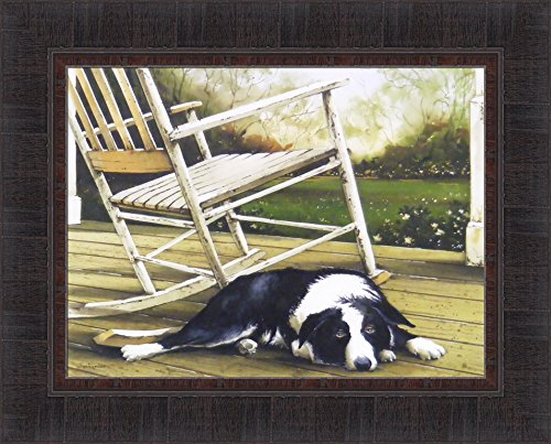 - Lazy Afternoon by John Rossini 17x21 Black and White Dog Sleeping on Porch Deck Rocking Chair Pet Animal Framed Art Print Wall Décor Picture