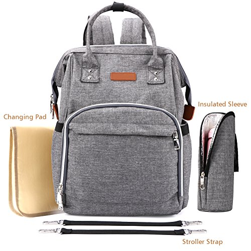 Babies Fashion Diaper Bag Backpack, Waterproof Fabric Nappy Pack Wide-Open School Bags, Large Capacity, Stylish and Durable Nursing Bag, Gray by MoAnBee