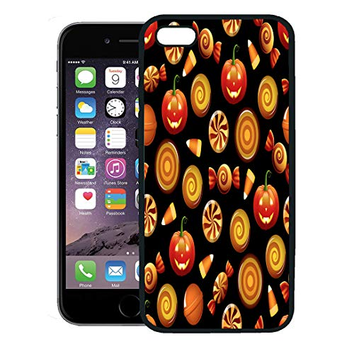 Semtomn Phone Case for iPhone 8 Plus case,Orange Pattern Halloween Sweets Candy Corn and Pumpkins on Circle Hard iPhone 7 Plus case Cover,Black ()