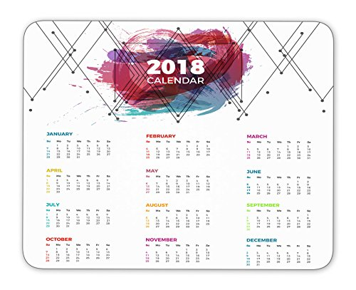 2018 calendar and geometric figures and color stains mouse pad, Natural Rubber Mouse Pad, Quality Creative Wrist-protected Wristbands Personalized Desk, Mouse Pad (9.5 inch x 7.9 inch)