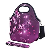 iColor Neoprene Lunch Bag with Cutlery Kit Neoprene Case for Knife,Fork,Spoon,removale Shoulder Strap, Thermal Thick Lunch Tote Bag,Large Size,Reusable Bags for Adults,Kids-Great Back to School Gift YLLB-010