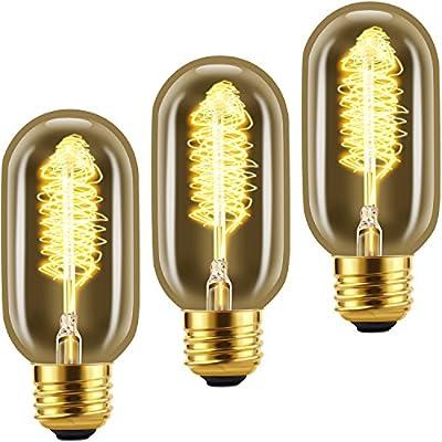 LETO T45 25w Dimmable Edison Light Bulb,E26 Medium Base,Vintage Incandescent bulb,2200k,3-Pack