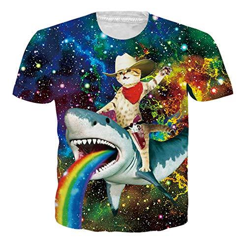 - RAISEVERN Unisex Galaxy T-Shirt 3D Funny Printed Crew-Neck Captain Cat & Rainbow Shark Short Sleeve Beach Summer Tee for Men Women