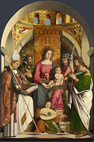 The Museum Outlet - Marco Marziale - The Virgin and Child with Saints, Stretched Canvas Gallery Wrapped. - Marcos Outlet Saint