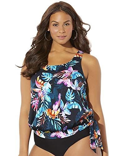 Swimsuits for All Women's Plus Size Side Tie Blouson Tankini Top 24 Multi
