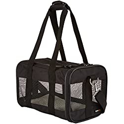 AmazonBasics Small Soft-Sided Mesh Pet Airline Travel Carrier Bag - 14 x 9 x 9 Inches, Black