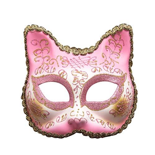 Compleanno Face Mask Rosa Di Della Halloween Festa In Maschera Mascherina Ragazze Partito Maschera In Zhhyltt Cat Palle Di Scintillio Pizzo Maschera Venezia UWT14UAc