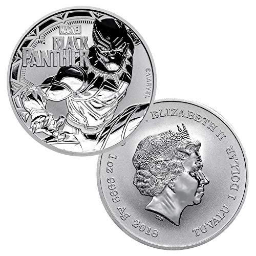 (2018 Tuvalu 1 oz .999 Silver Marvel Black Panther $1 Brilliant Uncirculated)