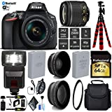 Nikon D5600 DSLR Wi-FI NFC 24.2MP DX CMOS Camera AF-P 18-55mm VR Lens + Digital Slave SLR Flash + UV Protection Lens Filter + 12 inch Flexible Tripod + Camera Case - International Version