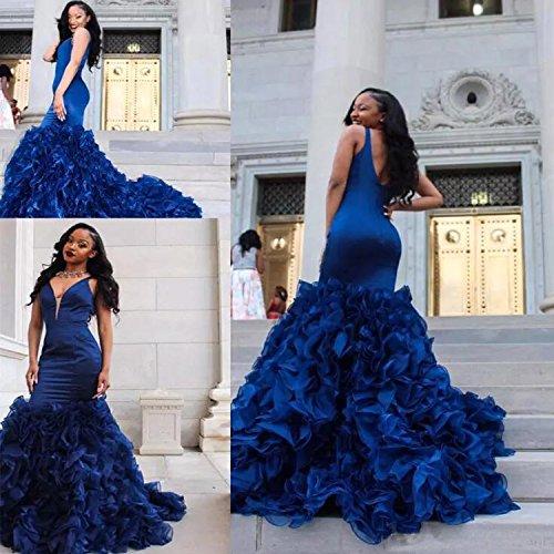 Ruffle Open Dress Dress Mermaid Deep Sheath Mermaid Long Prom Dimei Back V Train Purple Satin Sleeveless Neck xq6Uwwp07