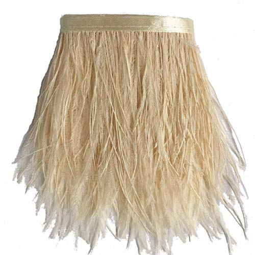 (ADAMAI Natural Ostrich Feathers Trims Fringe DIY Dress Sewing Crafts Costumes Decoration Pack of 10 Yards (Cream))
