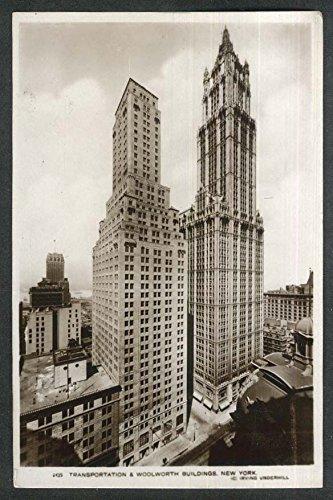 Underwood Transportation Woolworth Buildings New York NY RPPC postcard 1940s ()