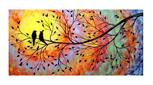 JOJOIL Art Hand Painted Bird and Tree Canvas Oil Painting Artwork Set Large Abstract Wall Art Framed for Living (Hand Painted Artwork Set)