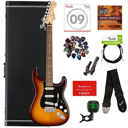 - Fender Player Stratocaster Plus Top, Pau Ferro - Tobacco Sunburst Bundle with Case, Cable, Tuner, Strap, Strings, Picks, Capo, Fender Play Online Lessons, and Austin Bazaar Instructional DVD