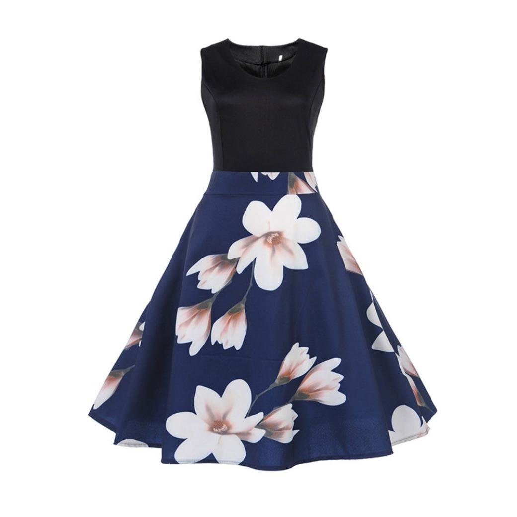 ESAILQ Damen Vintage Sleeveless Drucken Bodycon beiläufige Abend Partei Swing Kleid