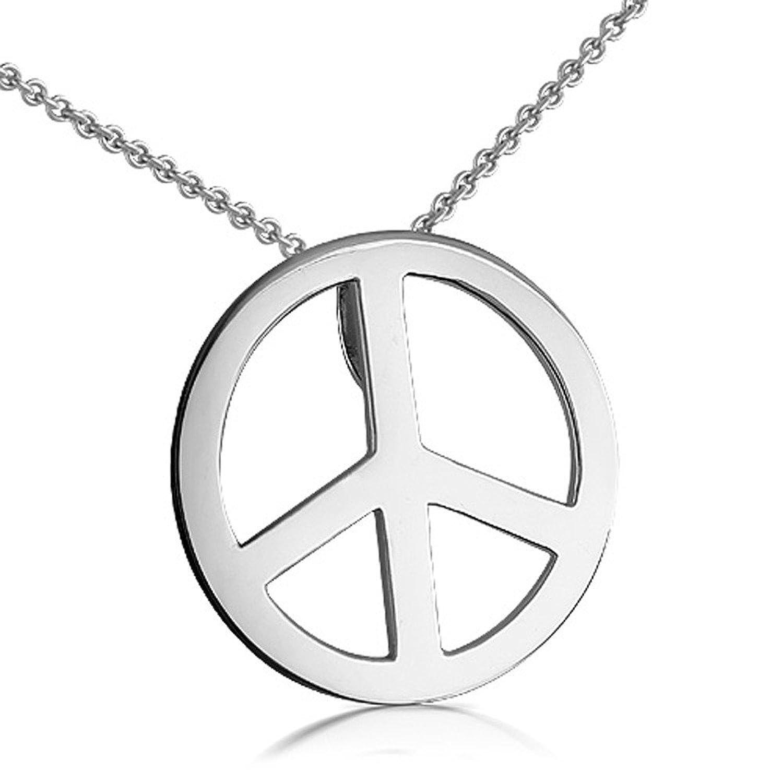 Amazon 14k white gold peace sign pendant necklace jewelry buycottarizona Gallery