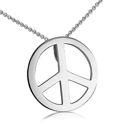 Amazon 14k white gold peace sign pendant necklace jewelry 14k white gold peace sign pendant necklace mozeypictures Choice Image