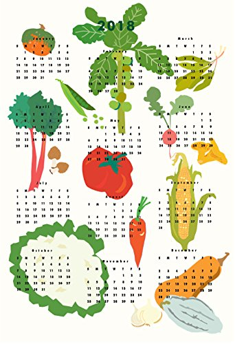 2018 vegetable Calendar wall calendar poster 13 x 19 inches by Dale Coykendall