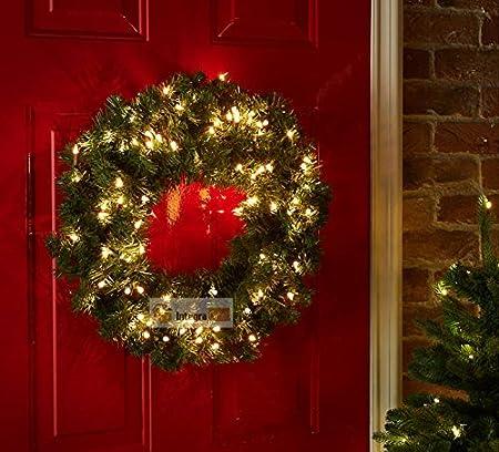Luxury Pre Lit Christmas Wreath Led Light Amazon Co Uk Kitchen Home