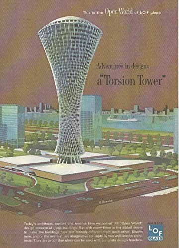 Magazine Print Ad: 1963 LOF, Libbey Owens Ford Glass Company, Multistory Prism and Torsion Tower Building Concepts,