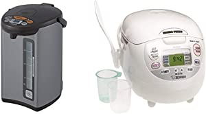Zojirushi Micom Water Boiler & Warmer, 135 oz. / 4.0 Liters, Silver & NS-ZCC10 5-1/2-Cup Neuro Fuzzy Rice Cooker and Warmer, Premium White, 1.0-Liter