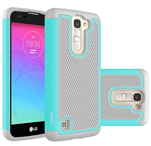 LG K7 Case, LG Tribute 5 Case, LGTreasure Cover Accessories - OEAGO Shock-Absorption Dual Layer Defender Protective Case Cover For LG K7 / LG Tribute 5 / LGTreasure LTE - Mint