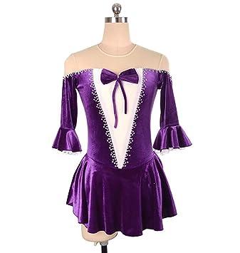 AURALLL Terciopelo Vestido de Danza Patinaje Body Leotardo de ...