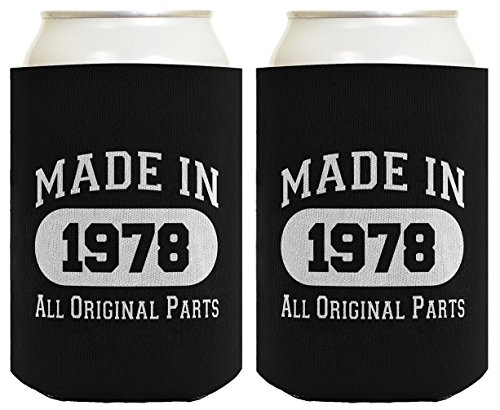 Made In 1978 40Th Birthday Gift 2 Pack Can Coolies Black
