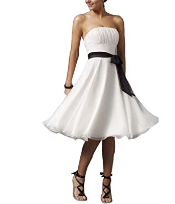 A-Line Strapless Evening Dresses Sweetheart Knee Length Belt Chiffon Prom Dress: Amazon.co.uk: Clothing