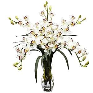 SKB Family Cymbidium Orchid Silk Flower Arrangement Natural White Flower Home Decor