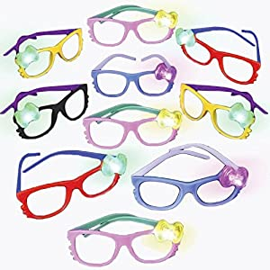 12 Light Up Bow LED glow Eyeglasses Frames w/ On/Off Button by ArtCreativity - Super Durable Plastic Shades - Cute Kitty Design glasses - Colorful Selection - Bright Colors - Fun Party Favors for Kids