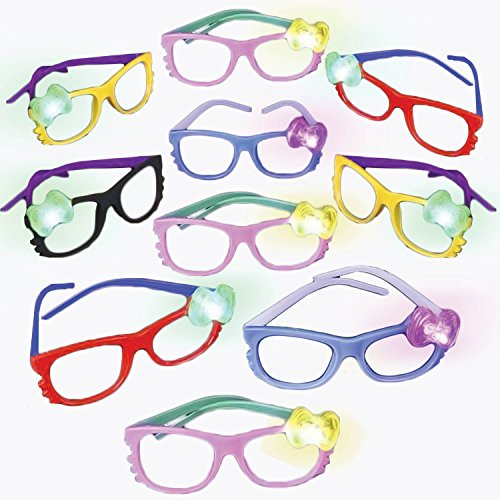 Nerd Glasses with flashing bow (12 pack colors vary)