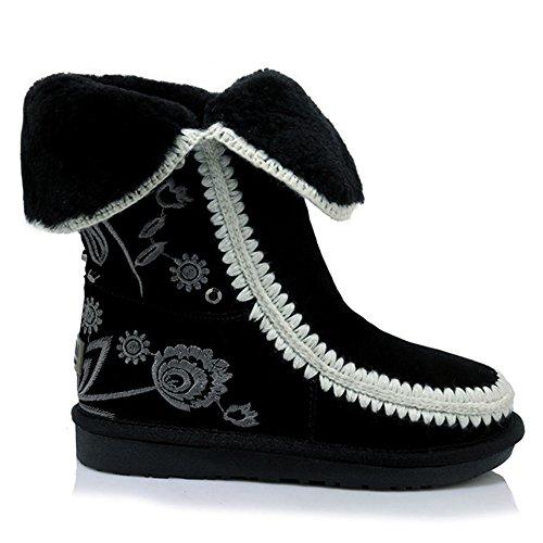 Nine mujer SevenMid Botas Boot Calf negro wxpOawFn