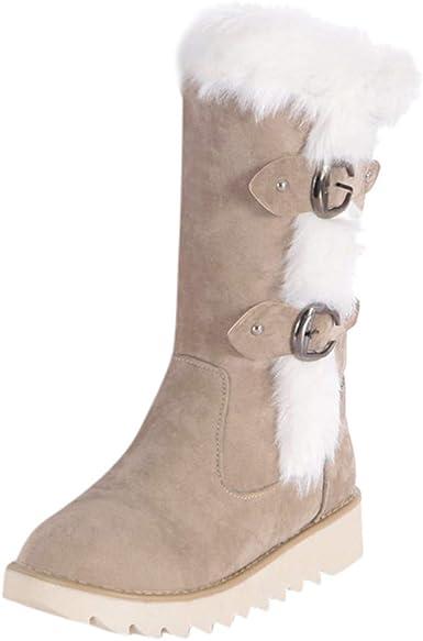 Dainzuy Womens Winter Warm Side Zipper Snow Boots Suede Faux Fur Lined Outdoor Anti-Slip Wedge Ankle Booties