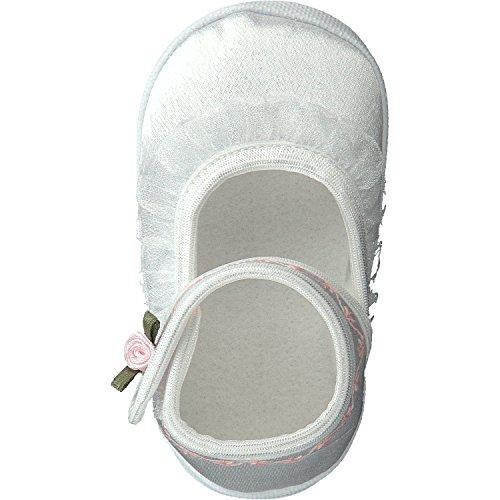 Omnia-Baby Festliche Babyschuhe Taufschuhe Lauflernschuhe Kinderschuhe, Satin, Spitzenstoff Weiß-Rose