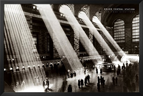 Professionally Framed Grand Central Station (Sunlight) Photo Print Poster - 24x36 with RichAndFramous Black Wood Frame Grand Central Station Nyc Christmas