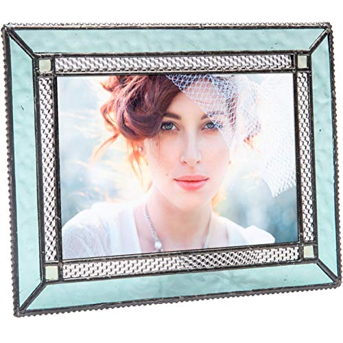 J Devlin Pic 419-46HV Aquamarine Blue Stained Glass 4x6 Picture Frame Tabletop Easel Back Photo Frame