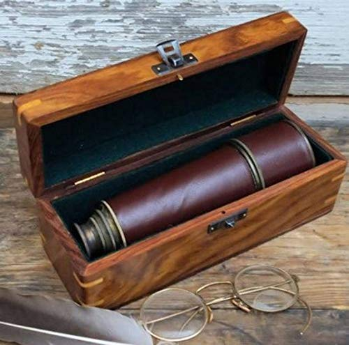 "PORTHO Personalized Vintage Telescope with Engraved Name Plate case. 18"" Leather and Brass Nautical Scope, Pirate Scope, Vintage Valentines Gift. from PORTHO"