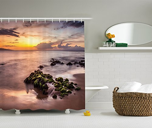 Ambesonne Seaside Decor Collection, Wailea Maui Sunset Warm Sunlight Dark Clouds and Nautical Waterscape Picture, Polyester Fabric Bathroom Shower Curtain, 84 Inches Extra Long, Gold Grey - Maui Beach Green