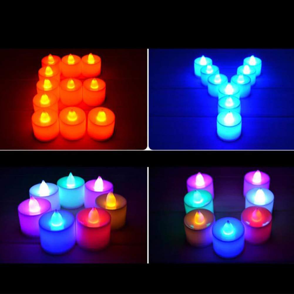 Lot de 24/bougies LED sans flamme r/éaliste et lumineux lumi/ère vacillante /à piles sans flamme lumi/ère LED pour anniversaire f/ête de mariage