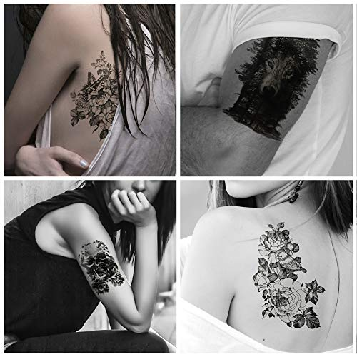 Everjoy Large Sleeve Yakuza Temporary Tattoos - 8 Sheets, Black and White, Wild Jungle Animal, Dead Skull, Eagle Hawks, Blood Tiger, Wolf in Woods, Butterfly, Bird, Snake with Flower