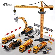 CUTE STONE Alloy Construction Vehicles Truck Toy Set, Kids Engineering Truck Playset, Crane, Excavator, Cement