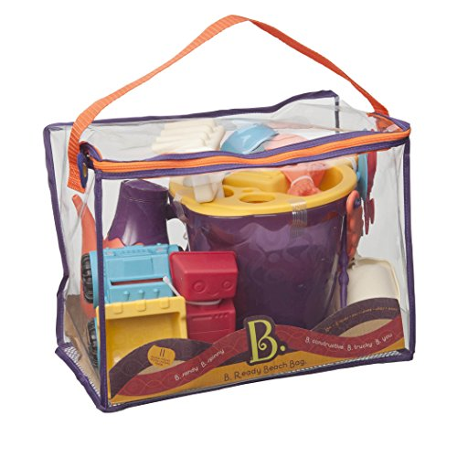 - B. toys - B. Ready Beach Bag - Beach Tote with Mesh Panel and 11 Funky Sand Toys - Phthalates and BPA Free - 18 m+