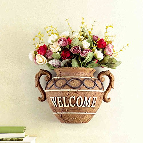 Handicraft decoration- European-style Wall Decoration Creative Pendant Resin Pottery Vase Floral Combination Wall Decoration -Best gift
