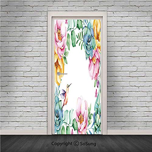 Succulent Door Wall Mural Wallpaper Stickers,Nature Themed Framework with Floral Flourish Border and Cute Little Hummingbird Decorative,Vinyl Removable 3D Decals 30.4x78.7/2 Pieces Set,for Home ()
