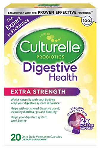 Culturelle Extra Strength Digestive Health Daily Formula, One Per Day Dietary Supplement, Contains 100% Naturally Sourced Lactobacillus GG -The Most Clinically Studied Probiotic†, 20 -