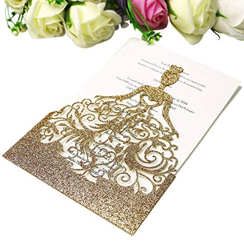 PONATIA 25PCS Lacer Cut Wedding Invitations Card Hollow Bride Invitations Cards for Wedding Bridal Invitation Engagement Invitations Cards (Gold Glitter)