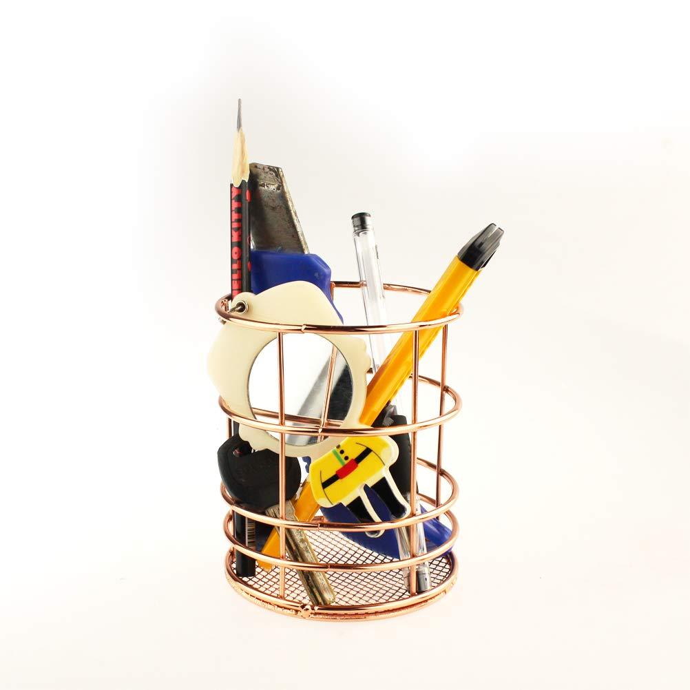 Teydhao 1 Pezzo Portapenne da Scrivania Ufficio in Metallo in Rete Bicchieri Portapenne Portaspazzolini Portamatite e Pennelli per Aula Scuola Casa Ufficio