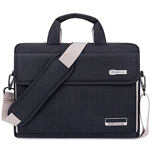 BRINCH Laptop Bag Oxford Fabric Portable Notebook Messenger Bag Shoulder Briefcase Handbag Travel Carrying Sleeve Case w/Shoulder and Luggage Strap for Men Women Compatible 17-17.3 Inch Laptop, Black