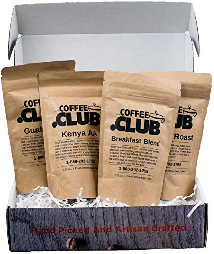 Coffee Club – Gourmet Coffee Bean Sampler Gift Box – 4 Coffees Handcrafted from Around the World – 1/2lb of Whole Coffee Beans – Roasted in USA